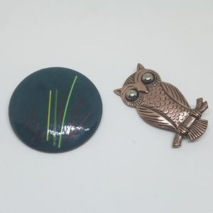 Vintage Emamel and Copper Owl set of Brooches